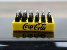 Miniature Coca Cola yellow plastic wood grain crate RED LETTER 12 bottles 1992