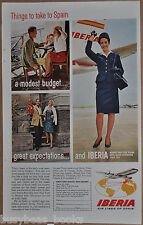 1965 IBERIA AIRLINES advertisement, Spanish Airline, stewardess, Spain