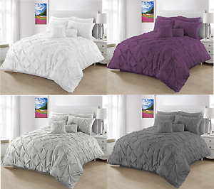 Pintuck Pleated Duvet Quilt Cover 3pc Set Pinch Pleat DOUBLE & KING Size Bedding
