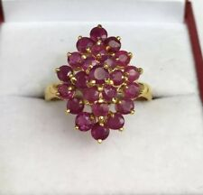 14k Solid Yellow Gold Diamond Shape Ring, Natural Ruby .Sz 8.5. 4.71 Grams