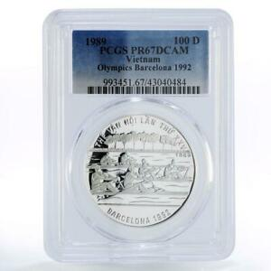 Vietnam 100 dong Barcelona Olympic Games Rowing Boats PR67 PCGS silver coin 1989