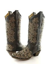 Corral LD Gray Floral Embroidery & Studs Leather Women's Boot R1408 NEW Size 9.5