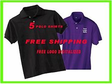 5 Custom Embroidered Polo Shirts - FREE DIGITIZER- Business- Sports- Golf- Team