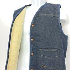 Vintage Denim Vest Sherpa Lined Sears Roebuck Snap Front Western Cowboy