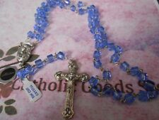 8 mm Tin Cut Blue Crystal with Deluxe Silver Ox Crucifix  + Centerpiece - Rosary