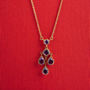 Classic Mixed Cut Amethyst Drop Necklace, 9K Yellow Gold.