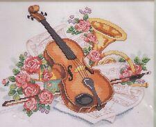Stickset, dimensions, violino, Rose, strumento musicale, Croce, ricamare, 30x25cm