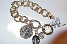 NWT INC International Concepts GoldTone Textured&Smooth Toggle Bracelet w/Charms