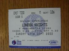 22/08/2000 Ticket: Ice Hockey - London Knights v Manchester Storm [At London Are