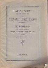 TRIBUNALE DI SAN MINIATO inaugurazione dell'anno giuridico 1890 nel tribunale