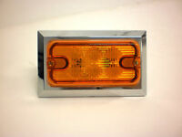 Maxxima Amber LED Rectangular Clearance Marker Light Chrome Trim Ring Trailer