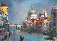 Venice, Italy, gondola, painting, landscape, Giclee print on canvas by Star