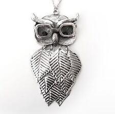 Neu HALSKETTE EULE mit BRILLE und STRASSSTEINE schwarz UHU Ankerkette OWL