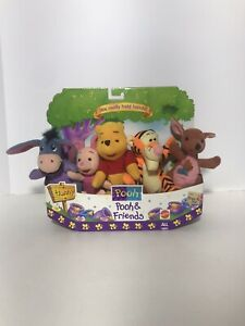 Mattel Plush Animals Winnie the Pooh and Friends Holding Hands w/ Package 1997