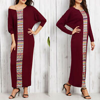 Womens Boho Gypsy Long Sleeve Shirt Tunic Maxi Dress Ladies Casual Loose Kaftan