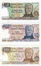 3 Banconote Argentina - 50, 100, 1.000 Pesos Argentinos - FDS