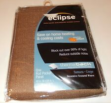 """Eclipse Energy Saving Noise Reduction Blackout Curtain 42"""" x 84"""" Toffee NEW"""