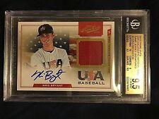 2012 Prime Cuts USA Kris Bryant Jersey Autograph #/199  BGS GEM MINT 9.5 AUTO 10