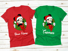 Personalised Mickey Mouse Christmas T-Shirt, Disney Xmas Day Santa Unisex Top