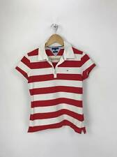 Tommy Hilfiger Girls Kids Slim Fit Short Sleeve Striped Polo Shirt Large L Red