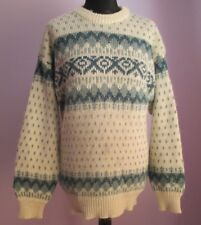 VTG Mens Unbranded Cream/Blue Acrylic Mix Nordic Style Jumper Size Small (D30)