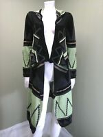 Black Rivet Women's Green Multi-Colored Hooded Cardigan Retail $100~ Size Small