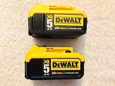 2 New 2016 Dewalt 20V Max XR DCB205 5.0Ah Lithium Ion Batteries Li-ion DCB205-2