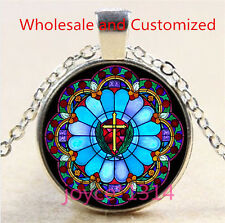 Saint Jesus Cross Stained Cabochon silver Glass Chain Pendant Necklace #4788