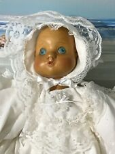 "Raikes, Baby Juliet,15"" tall, wood, with basket, Coa, quilt, christening dress"