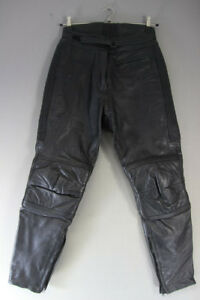 RHINO BLACK COWHIDE LEATHER BIKER TROUSERS SIZE 12: WAIST 30 IN/INSIDE LEG 29 IN