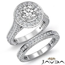 Halo Round Diamond Engagement Bridal Set Ring GIA F SI1 14k White Gold 4.45ct