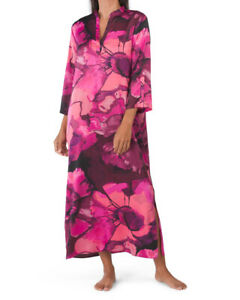 NWT N Natori Plum Purple ARTSY FLORAL CANYON LOTUS Silky Satin CAFTAN XL Pockets