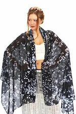 Forget Me Not Flower Black Women's Scarf or Shawl