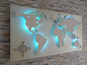 """Weltkarte aus Holz """"STERN"""" 3D Effekt LED RGB Beleuchtung Deko Wandbild"""