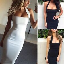 Sexy Women Summer Bodycon Evening Cocktail Party Sleeveless Pencil Midi Dress AW