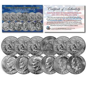 EISENHOWER IKE DOLLARS 6-COIN SET Complete Set of all 6 Years 1971-1978 with COA