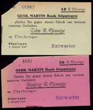 [10562] - 1947: 2 x NOTGELD GÖPPINGEN, Gebr. MARTIN Bank, 10 + 50 Pf, 05.08.1947
