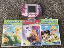 LeapFrog Leapster W/ 2 Disney Games Tangled Trinkerbell & 1 Nihao Game