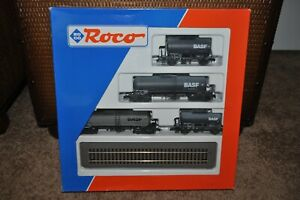 "Roco 44021 ""BASF"" (4-Car) Tank Car Set w/Display Tracks - New w/Box - Rare"