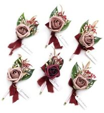 Ling's Moment Marsala Boutonniere 6 With Pin Groom Flower Set