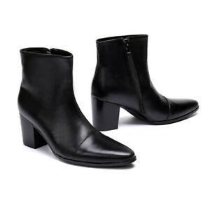 New Men's Genuine Leather Boot High Heels Shoes Inside Zip Black