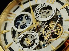 Invicta Men 47mm Ghost Moon Face Objet d'Art Skeleton Auto 18KGP Wht Strap Watch