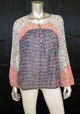 LUCKY BRAND Gray/Rust Print Chiffon Raglan Sleeve Henley Boho Blouse sz M