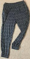 H&M BASIC bequeme Damen LEGGINGS Hose blau weiß Gr M mit Gummizug Viskose weich