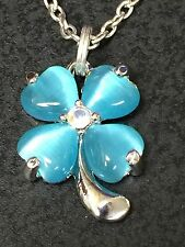 """Flowers Pansy Blue Cat's Eye Gem Charm Adjustable Rope 16"""" Necklace"""