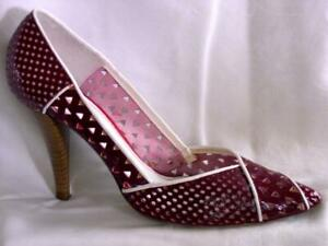 MISS SIXTY Burgundy White Perforated Pumps SZ 38 / 7.5 Sexy High Heel Shoe Italy