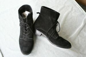 ASOS Black Suede Lace Up Boots Vintage Witchy Gothic Rocker Grunge Victorian