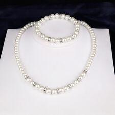 Women Girl Bridal Faux Pearl Necklace Earrings Elegant Jewelry Set Gift Little