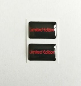 LIMITED EDITION 3D DOMED BADGE LOGO EMBLEM STICKER GRAPHIC DECAL BLACK RED x2