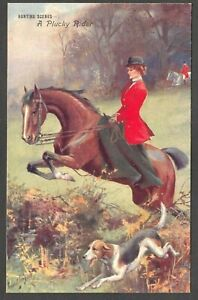 Postcard Hunting Scene lady sidesaddle A Plucky Rider horse hound hunt art early